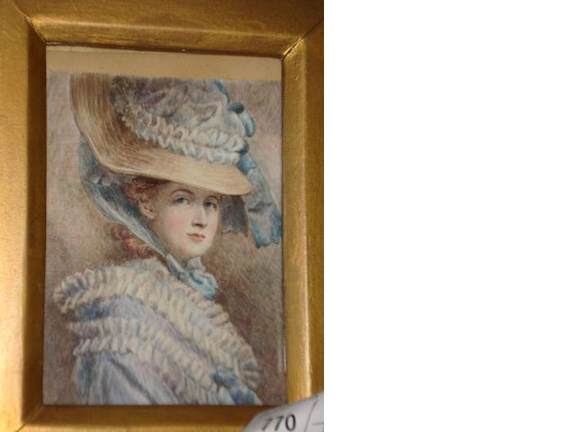 British School, early 19th century A portrait miniature of a gentleman, wearing dark jacket and white stock, on ivory,  also a portrait of a lady in fancy bonnet,  after Sir Joshua Reynolds, watercolour, together with a miniature print,  daguerrotype, miniature of a St Bernard embroidery and a miniature portrait,