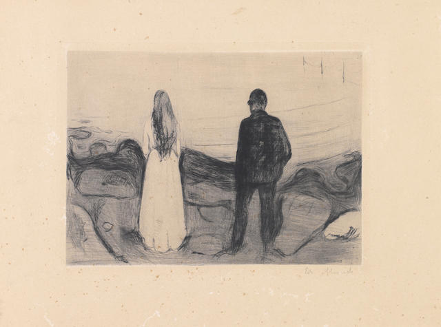 Edvard Munch (Norwegian, 1863-1944) Two Human Beings, The Lonely Ones Drypoint, 1894, a good, richly inked impression of the sixth and final state, on wove, with wide margins, signed in pencil lower right, 170 x 230mm (6 3/4 x 9in)(PL)