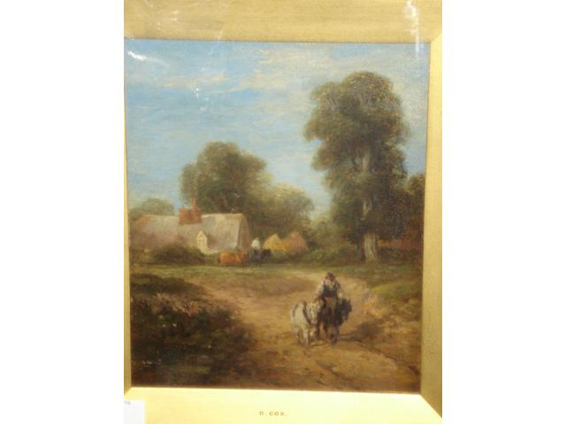 Circle of David Cox Snr., O.W.S. (British, 1783-1859) Figures and horses on a country lane,