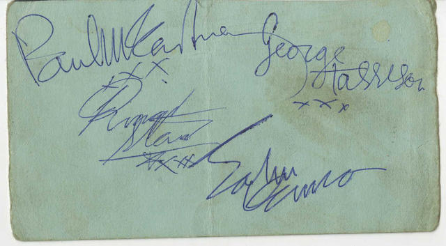 Paul McCartney: a set of Beatles autographs, 1960s,