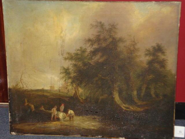 Circle of William Shayer, Snr. (British, 1787-1879) Woodmen by a stream,