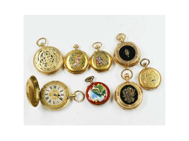 A collection of eight various fob watches, 8