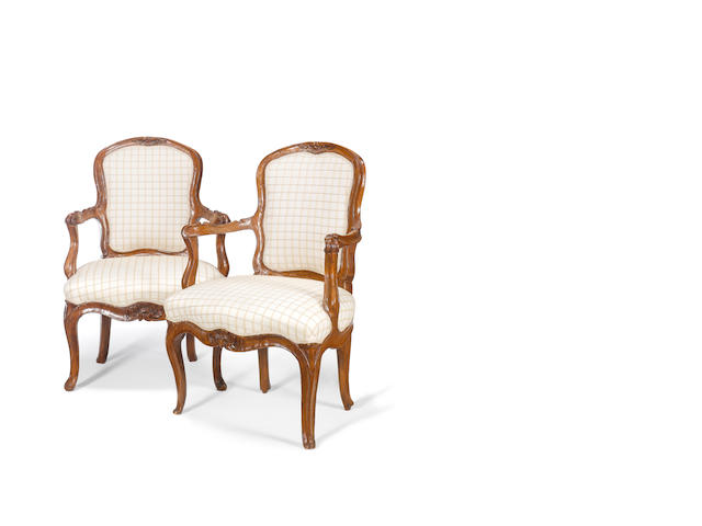 A pair of Genoese 18th century carved walnut armchairs