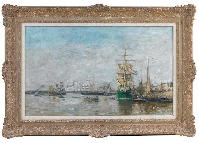 Eugène Louis Boudin (French, 1824-1898) Bordeaux. Le port
