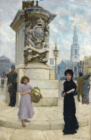 Sir George Clausen, RA, RWS (British, 1852-1944) The flower seller, Trafalgar Square