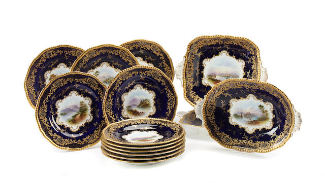 A Coalport part dessert service, painted by Percy Simpson Circa 1909