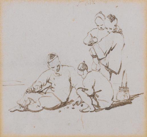 George Chinnery, RHA (British, 1774-1852) Playing marbles