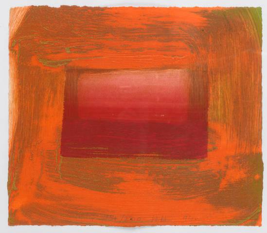 Sir Howard Hodgkin (British, born 1932) Red Print Etching and aquatint with carborundum, 1994, printed in orange and green, with hand colouring in helios red egg tempera, on BFK Rives, signed, dated and numbered 151/200 in pencil, printed and hand coloured by Jack Shireff at 107 Workshop, published by Thames and Hudson, London, 220 x 255mm (8 2/3 x 10in)(SH)