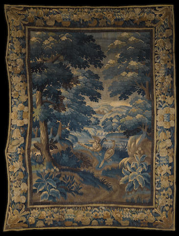 A Flemish late 17th/ early 18th century Oudenaarde Verdure tapestry