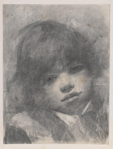 Lesser Ury (German, 1861-1931) Portrait of a young boy Charcoal with pen and ink on paper, 1885, signed and dated lower right in black pen and ink; 280 x 210mm (11 x 8 1/2in)(SH). Together with two charcoal portraits by an unknown hand. 3 unframed