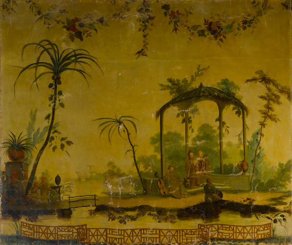 A French late 18th century Chinoiserie oil on canvas in the manner of Jean-Baptiste Pillement (Lyon, 1728-1808)