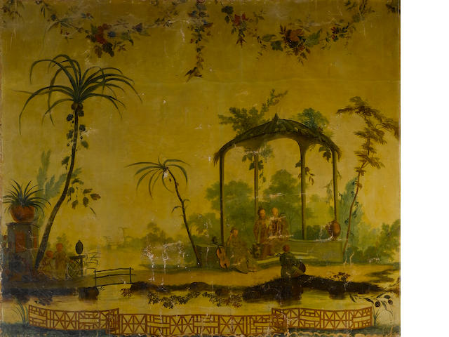FRENCH SCHOOL 18th Century<BR>In the manner of Jean-Baptiste Pillement Chinese garden scene<BR>Photo 261,262 40 x 53 cm