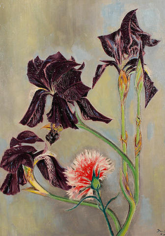 Jean Cocteau (French, 1889-1963) Irises and Dianthus