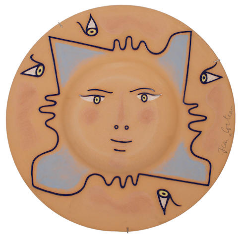 Jean Cocteau (French, 1892-1963) Quatre-Profils, conceived in 1958 37cm (14 1/2in)(diameter)
