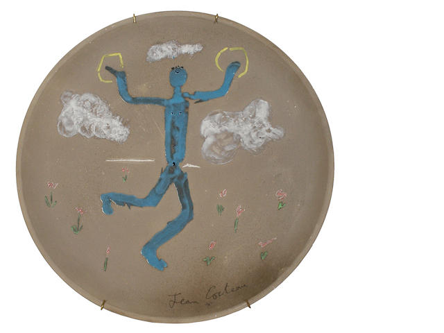Jean Cocteau (French, 1892-1963) Danseur aux Cymbales, conceived in 1958 31.5cm (12 1/4in)(diameter)