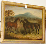 Samuel Spode (British, fl.1825-1858) Three horses and a groom
