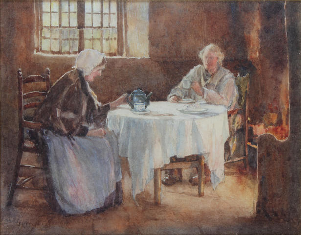 James W. Milliken (British, fl.1887-1930) 'Firelight - Quiet cup of tea',