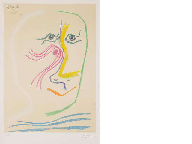 "After Pablo Picasso (Spanish, 1881-1973) Tête d'Homme Lithograph in colours, by Henri Deschamps, signed and dated 19.5.64.III in the stone in the top left corner, a proof, signed and annotated ""H.C."" in pencil. 640 x 452 mm; 25 1/4 x 17 3/4"" (I)  unframed"