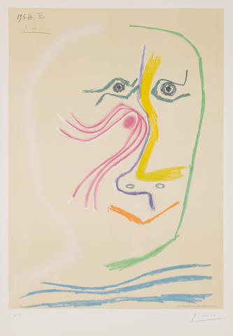 "After Pablo Picasso (Spanish, 1881-1973) Tête d'Homme Lithograph in colours, by Henri Deschamps, signed and dated 19.5.64.III in the stone in the top left corner, a proof, signed and annotated ""H.C."" in pencil, 640 x 452 mm; 25 1/4 x 17 3/4"" (I)(unframed)"