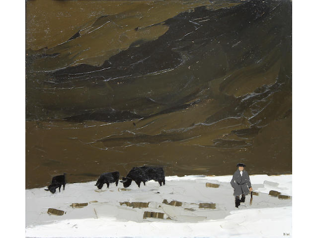 Sir Kyffin Williams, R.A. (British, 1918-2006) Farmer, black cattle and melting snow