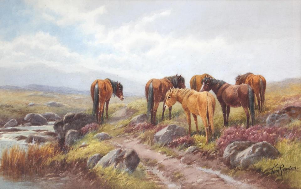 """Thomas Rowden (British, 1842-1926) """"Lydford, Dartmoor, Devon"""" Dartmoor ponies,"""