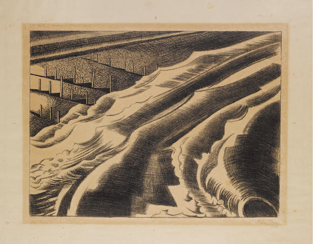 """Paul Nash (British, 1889-1946) The Tide, Dymchurch Lithograph, 1920, on thin, off white wove, with wide margins, signed, dated and titled, further inscribed along the upper edge of the image """"To Kitty, Oxenbridge, Summer, 1921"""" and """"Edition 30"""" by the artist, 314 x 420mm (12 3/8 x 16 1/2in)(I) unframed"""