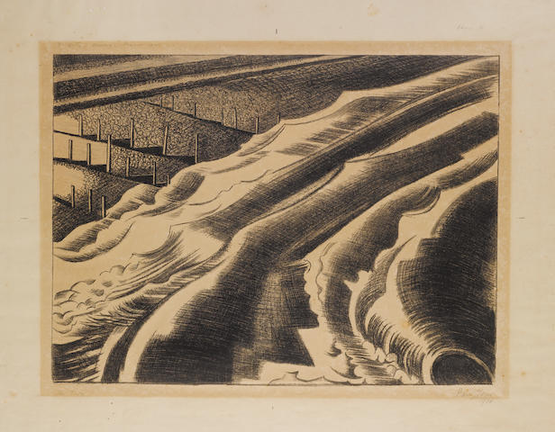 "Paul Nash (British, 1889-1946) The Tide, Dymchurch Lithograph, 1920, on thin, off white wove, with wide margins, signed, dated and titled in pencil, further inscribed along the upper edge of the image ""To Kitty, Oxenbridge, Summer, 1921"" and ""Edition 30"" by the artist, 314 x 420mm (12 3/8 x 16 1/2in)(I) unframed"