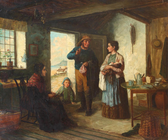 Charles Frederick Lowcock (British, fl .1878-1922) A fisherman's cottage interior,