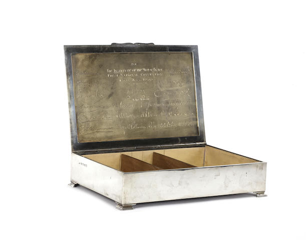 A silver presentation cigar box from the Institute of the Motor Trade, 1935,