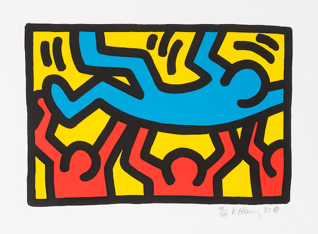 Keith Haring (American, 1958-1990) Untitled Lithograph in colours, 1987, on wove, signed, dated and numbered, 95/100 in pencil, 210 x 310 mm (8 1/4 x 12in)(I)(unframed)