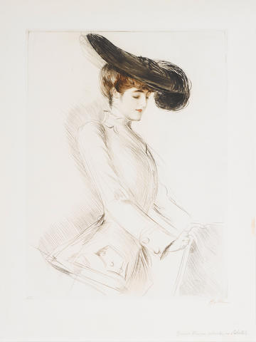 Paul César Helleu (French, 1859-1927) Jeune Femme les yeux baissés Drypoint in brown and black with touches of handcolouring and pencil additions, 1900, on wove, signed in brown pencil, annotated in an unidentified hand 'Epreuve Unique retouchée par l'artiste', a proof, with margins 394 x 295mm (15.5 x 11.6 in) unframed