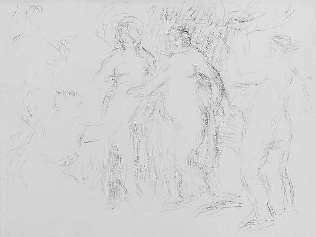 Pierre-Auguste Renoir (French, 1841-1919) Les Baigneuses or Jugement de Paris Lithograph, c.1908, one of approximately fifty proofs, on MBM Ingres d'Arches laid paper, the full sheet, 475 x 630mm (18 5/8 x 24 3/4in)(SH) unframed