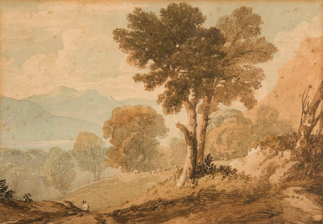 Follower of Anthony Vandyke Copley Fielding, P.O.W.S. (British, 1787-1855) Figure on a path in a mountainous landscape