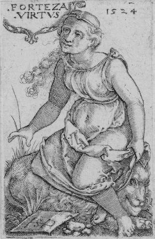 Hans Sebald Beham (German, 1500-1550) The Judgment of Paris Engraving, 1546, a good impression, on laid, with margins, 72 x 49mm (2 3/4 x 3 2/5in)(PL), together with  four others by the same hand, 'Penance of St John Chrysostomus' (B.215), 'Ornament with Mask held by two Genii' (B.228), Coat of Arms with an Eagle (B.257) 'Forteza Virtus: Bravery' (H.140) each on laid, with margins, various sizes 5 unframed