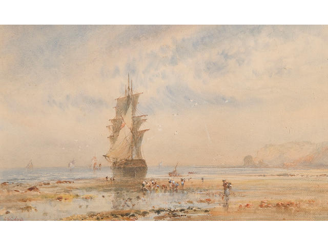 George Weatherill (British, 1810-1890) Beached sailing ship and figures on the shore