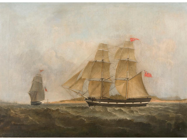 Circle of Thomas Buttersworth (British, 1768-1828) The two masted ship 'Alpha' in full sail