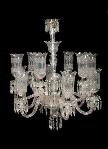 A pair of large cut glass twelve light chandeliers