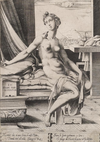 Enea Vico (Italian, 1523-1567) Lucretia Preparing to Kill Herself, After Parmigianino Engraving, a fine impression, on laid, with margins,  296 x 202mm (11 3/4 x 8in)(PL) unframed