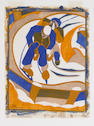 "Lill Tschudi (Swiss, 1911-2001) Sledging Linocut, 1931, a superb, fresh impression, printed in blue, beige and yellow ochre, on thin off white oriental laid paper, signed and numbered 6/50 in pencil lower left, annotated lower right ""Handdruck"", titled along the lower sheet edge in German, English and French, 251 x 196mm (9 7/8 x 7 6/8in)(B) unframed"