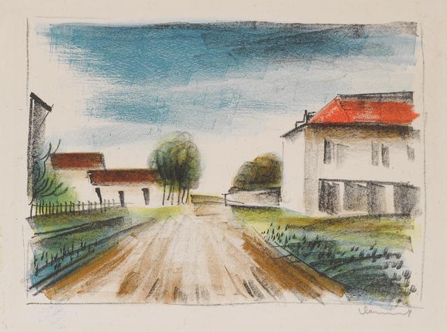 Maurice de Vlaminck (French, 1876-1958) Entrée de Village (La Route de Francheville)(I) Lithographs, in colours, c.1925, a bright impression, on chine volant, signed in pencil, unnumbered, printed by Landelle, Maison Duchâtel, Paris, published by Galerie des Peintres Graveurs, 245 x 330mm (9 5/8 x 13in)(I) unframed
