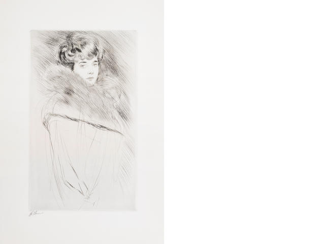 Paul César Helleu (French, 1859-1927) Portrait of a young woman Drypoint, c.1900, a strong impression, on wove, with wide margins, signed in black crayon; 400 x 240mm (15 3/4 x 9 3/8in)(PL) unframed