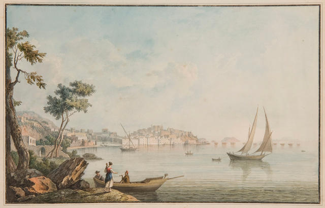 English School, circa 1815 Three Neoplitan harbour scenes