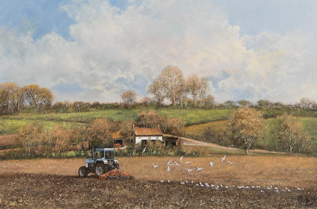 Clive Madgwick (British, 1934-2005) Landscape with tractor