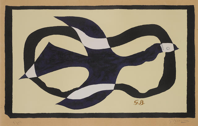 Georges Braque (French, 1882-1963) Bird crossing a cloud (Bird XI) Lithograph, 1957, on Arches, signed and numbered 5/75 in pencil, printed by Mourlot, published by Maeght, Paris, 410 x 690mm (16 x 27 1/5in)(I)