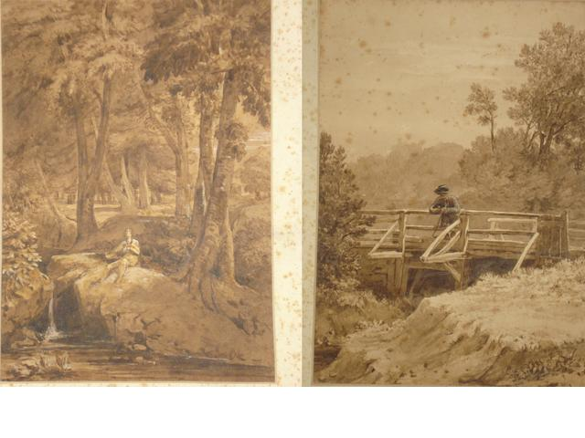 John James Chalon (British, 1778-1854) Traveller resting on a footbridge, together with another of a gentleman resting on a wooded river bank, a pair,