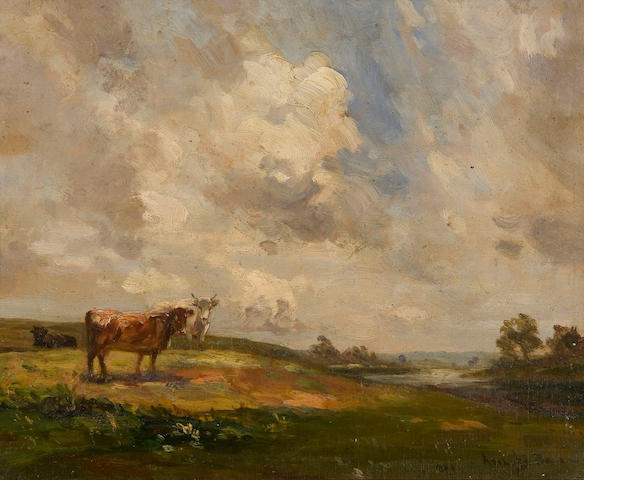 Sir John Alfred Arnesby Brown (British, 1866-1955) Landscape with cows 29 x 36 cm. (11 1/2 x 14 1/4 in.)