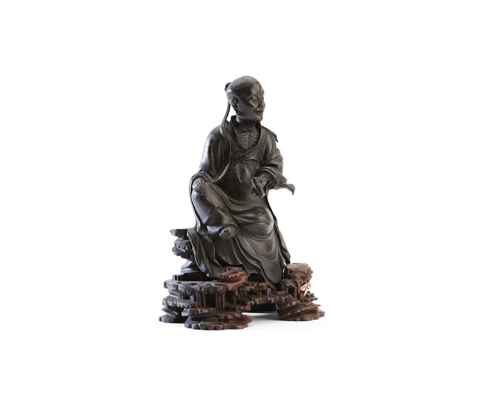 A bronze figure of a Luohan Probably Ming
