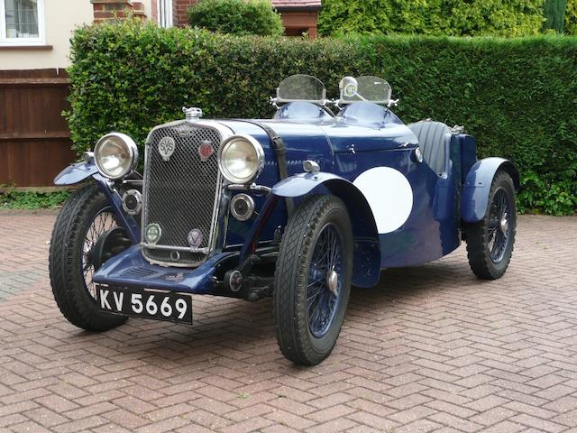 The factory prototype 'Blue Car', Brooklands Houghton Cup and Wakefield Cup-winning,1933 Singer Nine Sports Team Car  Chassis no. 48500 Engine no. 49606