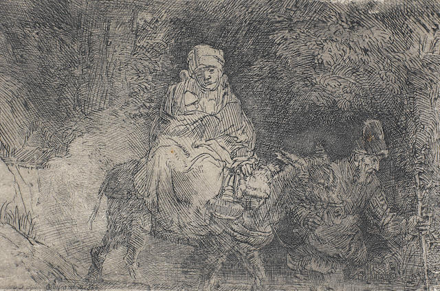Rembrandt Harmensz van Rijn (Dutch, 1606-1669) The Flight into Egypt, crossing a brook Etching, c.1629, printed with tone, a later impression, on laid, 95 x 142mm (3 3/4 x 5 5/8in)(PL) unframed