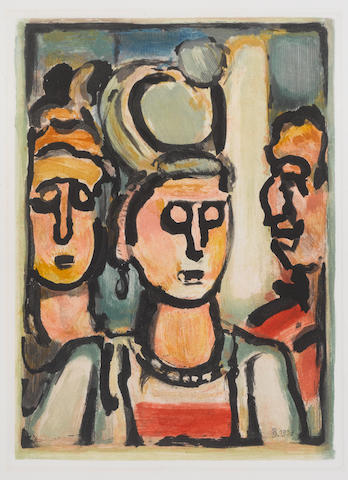 Georges Rouault (French, 1871-1958) From Les Fleurs du Mal: Trio Aquatint in colours, 1938, on Montval wove, an impression of Chapon's second and final state, the état definitif, from the edition of 250, with full margins, 280 x 215mm (11 3/4 x 8 1/2in)(I) unframed